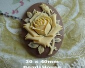 90-00-CM 2pcs Pretty Rose Oval Cameo (30 x 40 mm)-  Ivory on Brown