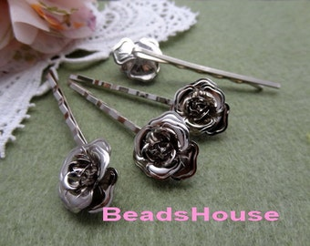 10pcs Silver plated or Antique Brass Hair Clip W/15mm Rose, Nickel Free
