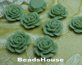 698-00-CA 8pcs (15mm) High Quality Rose Cabochon-Nile Green