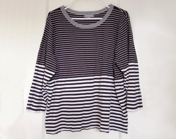 80's Striped Black White Breton Knit Boat Neck Top