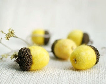 Felted acorns, yellow lemon canary citrus, set of 5 oak tree tops, indoors home geekery unisex - gifts under 15