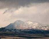 Stormy Mountain Landscape Photograph, Blue Toned Nature Art, Western Mountain Art