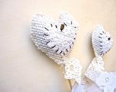SALE Rustic Hearts Cake Topper. Burlap Hearts Cake topper. Beach Wedding.  Rustic wedding. Valentines Day Topper.