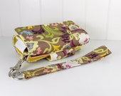 The Errand Runner - Cell Phone Wallet - Wristlet - for iPhone/Android - Multi Floral in Taupe/Yellow
