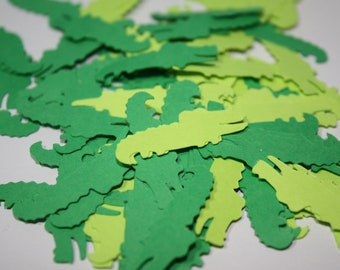 200 pieces Alligator Die Cut Confetti Table Decor - greens