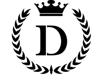 STENCIL Custom Your Initial Monogram Wreath Crown  10x10