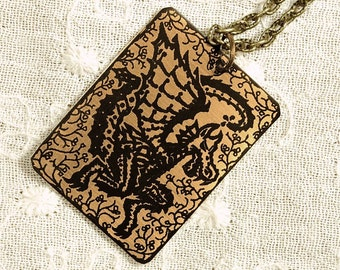 Dragon Necklace - Etched Fused Glass on Bronze Jewelry