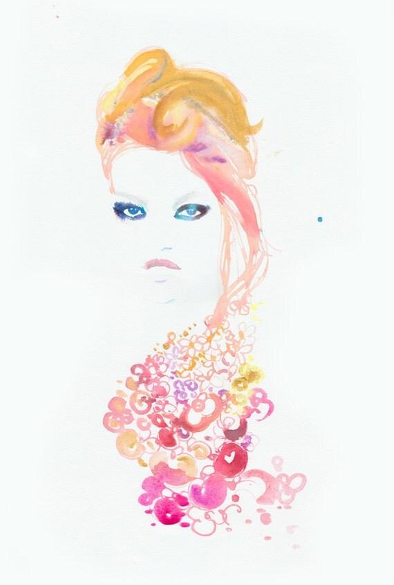 Original Watercolor, Fashion Illustration -  Daphne