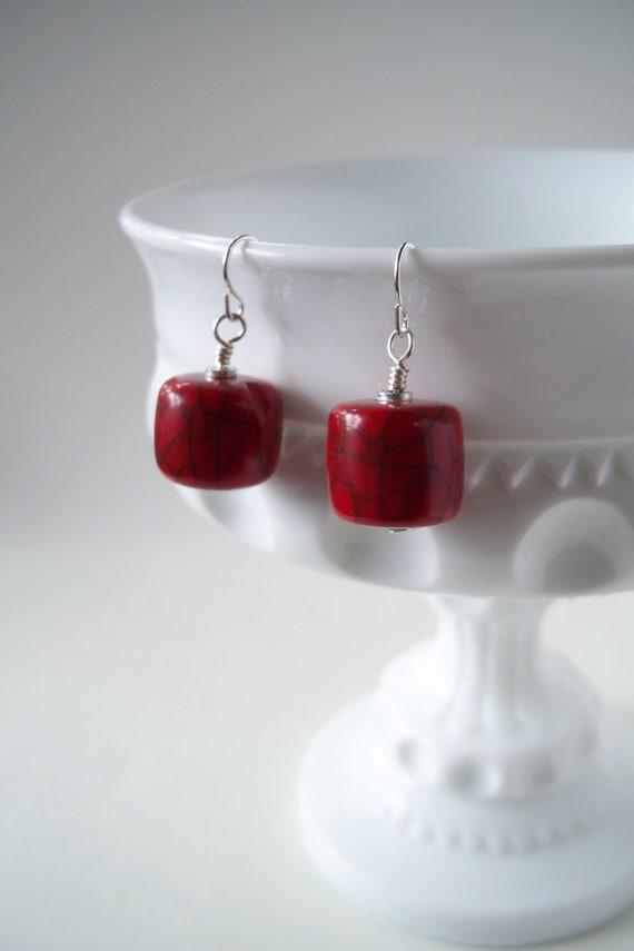 Red Bead Earrings - Small Red Earrings - Minimalist Earrings - SALE