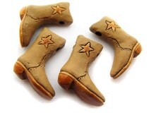 4 Large Cowboy Boot  Beads - tan star