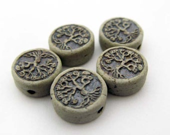 10 Tiny High fired Tree of Life Beads - CB843