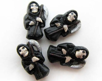 10 Tiny Grim Reaper Beads - black - CB820