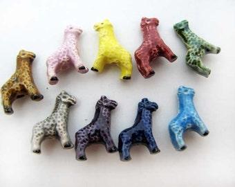 20 Tiny Ceramic beads - Giraffe Beads Mix - CB700