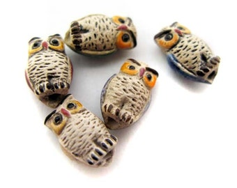 10 Tiny mixed Owl Beads