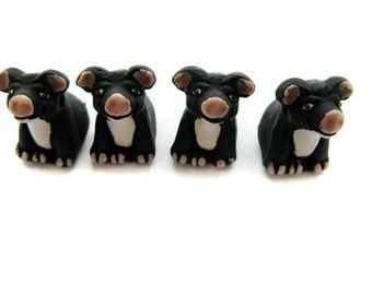 4 Large Black Pig Beads - sitting