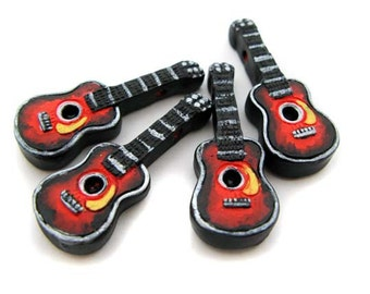 4 Large Red Guitar Beads