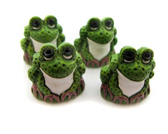 4 Large Green Frog Beads - Peruvian Beads - Ceramic Beads - Animal Beads - LG21