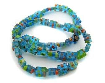 Small Lt. Blue with mixed flower square Millefiori Beads - CG133