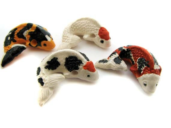 4 large koi beads spotted mix from thecraftybead on etsy for Koi fish beads