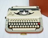 RESERVED FOR JB...Rare Vintage Princess 300 Typewriter  -  Tan and Cream with Orange Case  -  Manual Working Typewriter