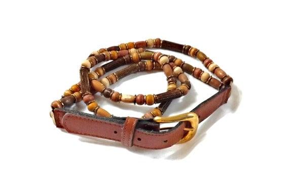 vintage 80s wood multi strand wooden beaded Belt Wearable Art deco