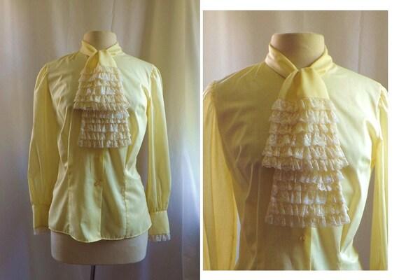 Yellow Blouse / vintage 1970s Yellow White Lace Ruffle Ascot Cravat  Jabot Secretary  blouse