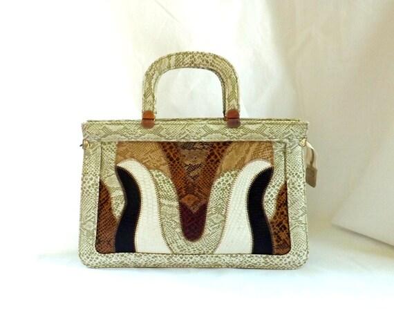 1960s handbag / 1960s faux reptile purse / reptile bag purse