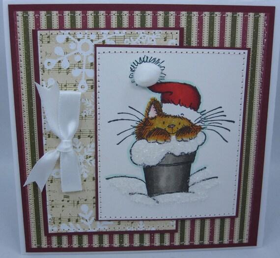 Kitten Santa  - Handmade Card