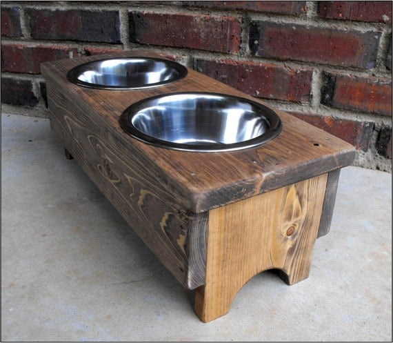 rustic dog or cat bowl holder stained by turquoisewoodworks. Black Bedroom Furniture Sets. Home Design Ideas