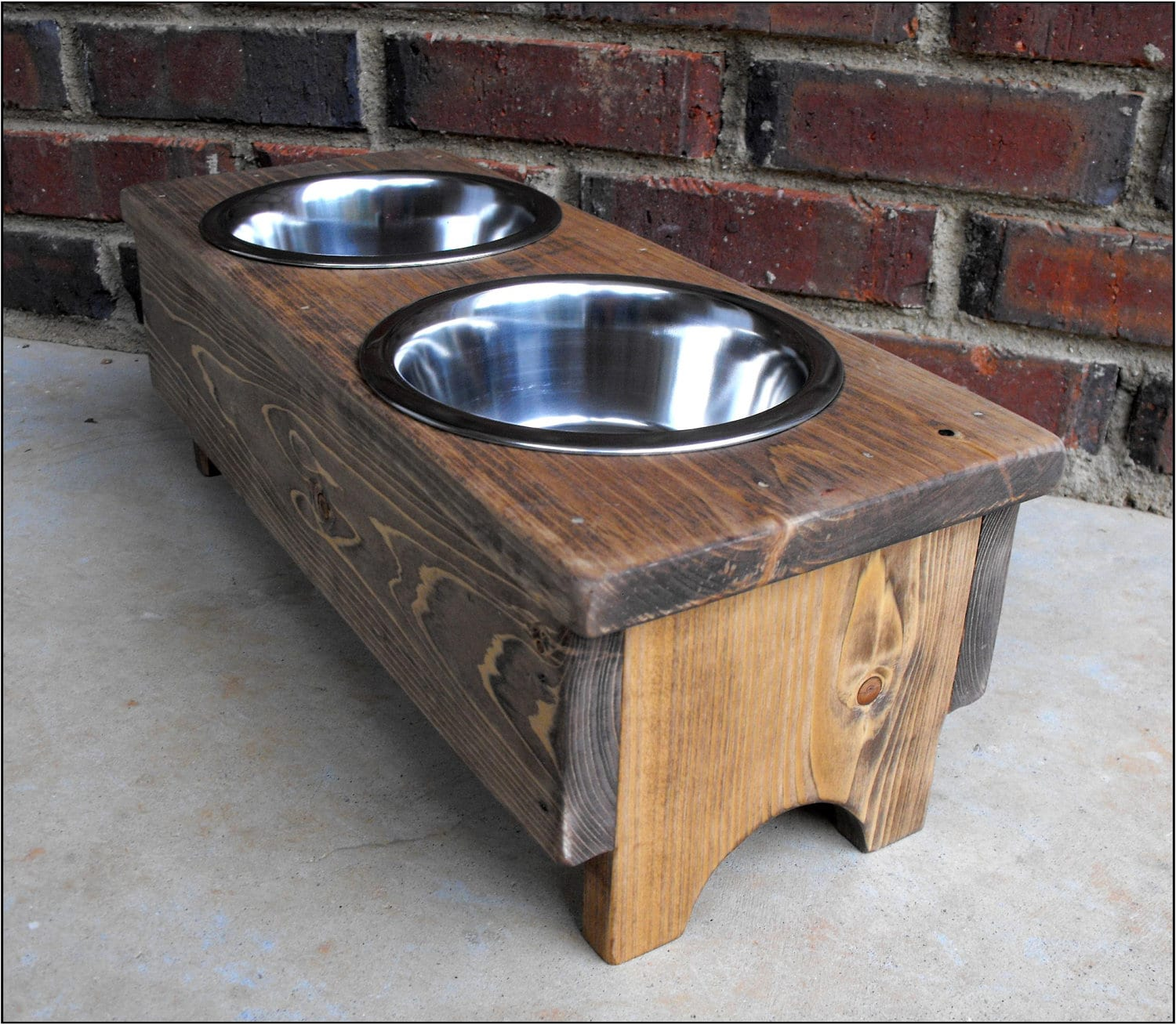 Rustic Dog or Cat Bowl holder Stained 8 inches tall 1 quart - photo#13