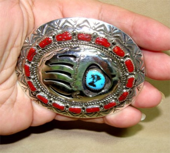 Navajo Belt BUCKLE Signed and STERLING Silver Bear PAW