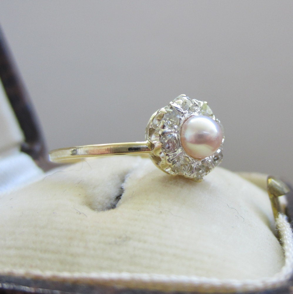 Pearl Wedding Ring: Incredible Antique Engagement Ring. Pearl And Diamonds. Halo