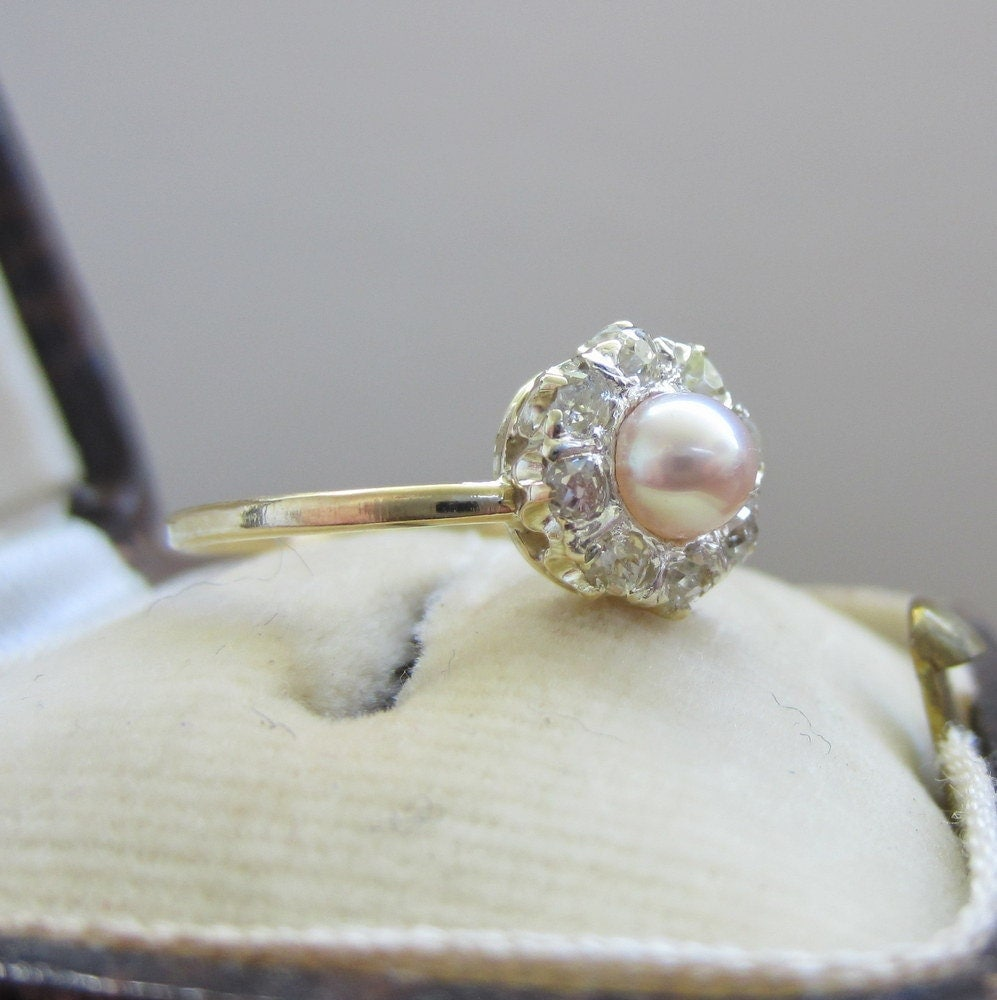Incredible Antique Engagement Ring Pearl and Diamonds Halo