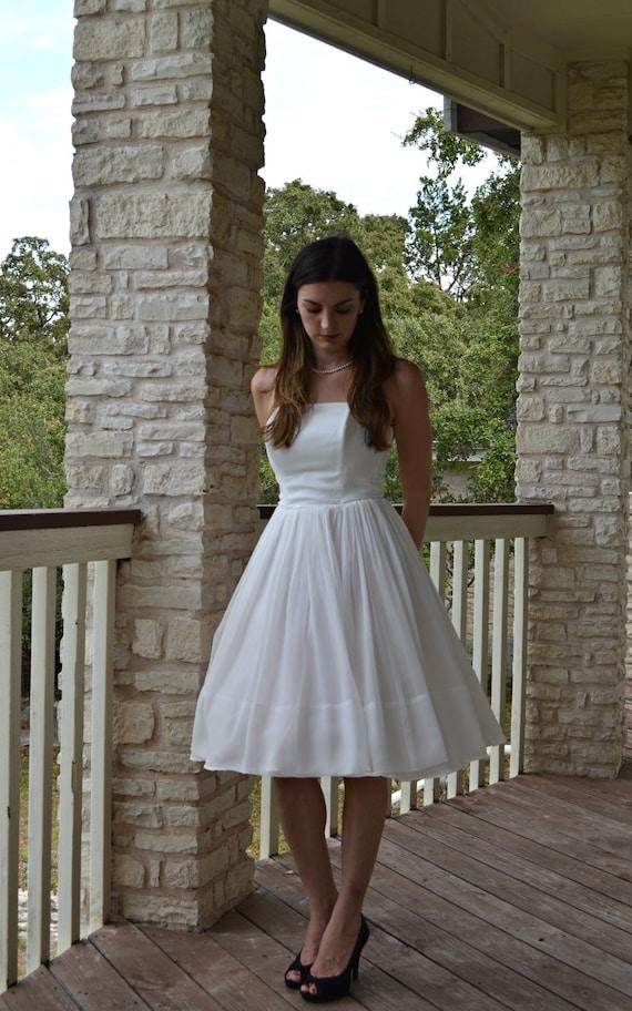 RESERVED FOR CYNTHIA Vintage 1960s Wedding Dress...Beautiful Short White Chiffon Wedding Dress Small