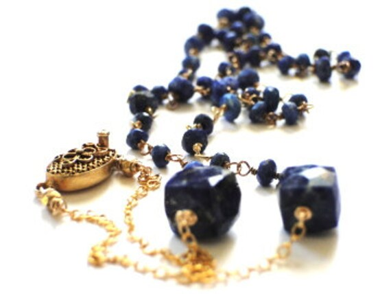 Jewelry Necklace,14kt Gold and Faceted Blue Lapis, Vermeil 22kt Gold Plate Clasp, Ornate, 14kt Gold Filled Chain, Elegant Luxe Jewelry