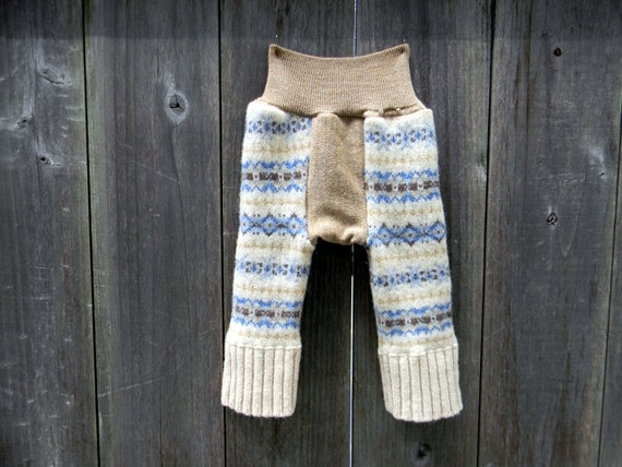 Upcycled Wool Longies Soaker Cover Diaper Cover With Middle Gusset Blue Beige Brown Pattern NEWBORN 0-3M Kidsgoreen