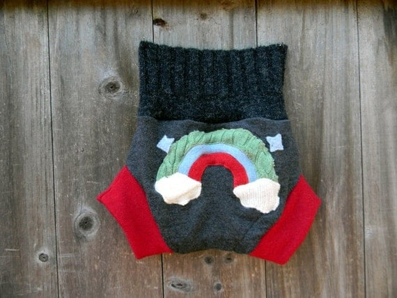 Upcycled Wool Soaker Cover Diaper Cover With Added Doubler Black/Red  With Rainbow Applique LARGE 12-24M  Kidsgogreen