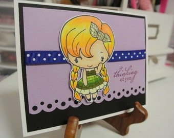 Sweet girly thinking of you greeting card