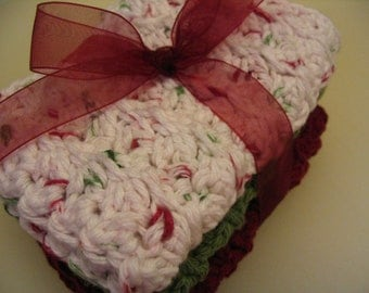 Christmas Set of 3 Crochet Cotton Dish Cloths