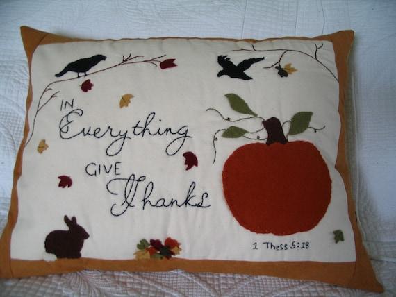 Felted Wool Appliqued Pumpkin Crow Pillow