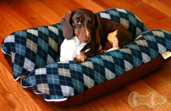 Blue Argyle Deluxe Bunbed Dog bed for Dachshunds or other small dogs