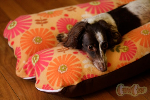 Orange Mod Flowers Bunbed Dog bed for Dachshunds or other small dogs
