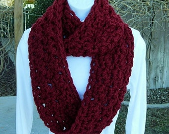 INFINITY LOOP SCARF Dark Solid Red, Color Choices, Thick Soft Bulky Warm Winter Eternity Circle Cowl, Neck Warmer..Ready to Ship in 2 Days
