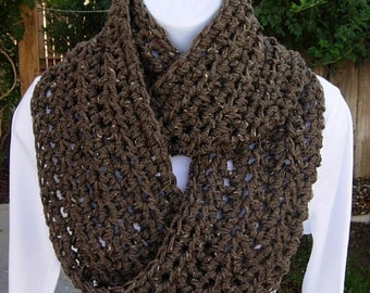 INFINITY COWL SCARF Light Brown Taupe Tweed 100% Acrylic Lightweight Crochet Knit Winter Circle Loop, Neck Warmer..Ready to Ship in 2 Days