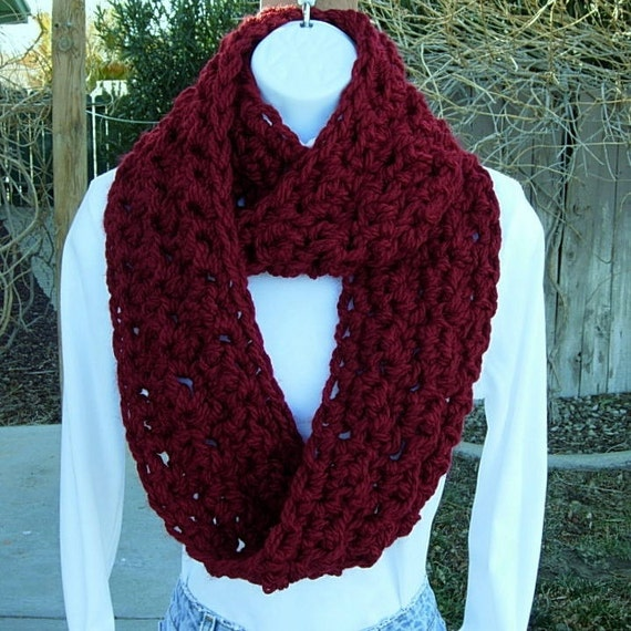 INFINITY LOOP SCARF..Dark Solid Red..Extra Thick..Super-Soft..Bulky..Warm Winter Eternity Circle Cowl, Neck Warmer..Ready to Ship