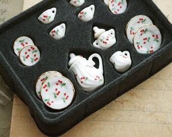 Ceramic Tiny Cherry Tea Set