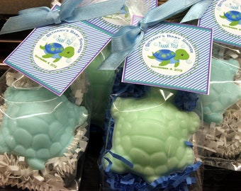 Set of 10 Turtle Soap Favors Party Favors  Baby Shower Bridal Shower Birthday Wedding Custom Party Favors Includes Customized Tags