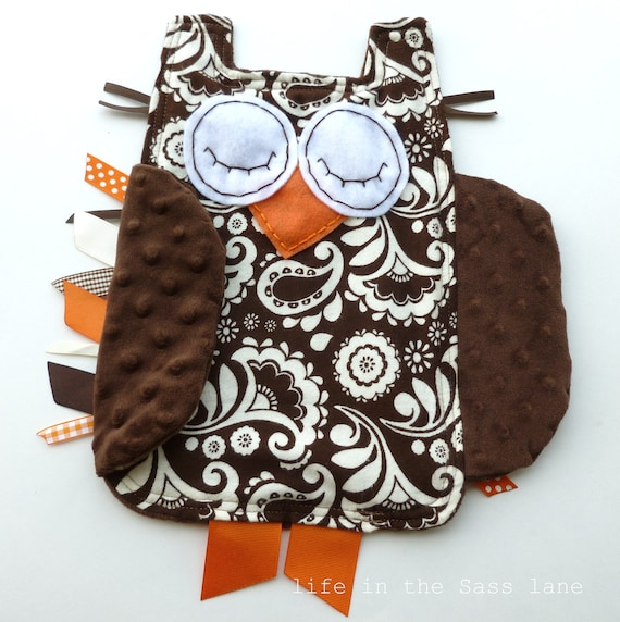 Paisley Woodland OWL Ribbon Tag Flannel Baby Blankie Orange and Chocolate Brown Minky Blanket Lovey Lovie Baby Gift