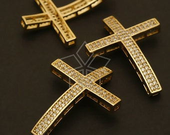 AC-453-GD / 1 Pcs - Double Rhinestone Cross Bracelet Connector, Gold Plated over Brass / 24mm x 33mm
