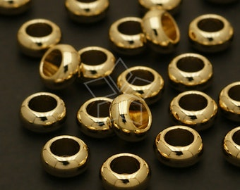 ME-113-GD / 10 Pcs - Smooth Rondele Bead, Gold Plated over Brass / 7mm x 3.5mm